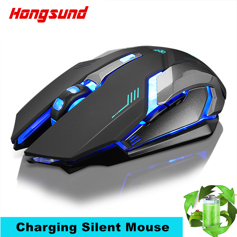Hongsund Rechargeable Wireless Gaming Mouse 7-color Backlight Breath Comfort Gamer Mice Silence Built-in Lithium Battery