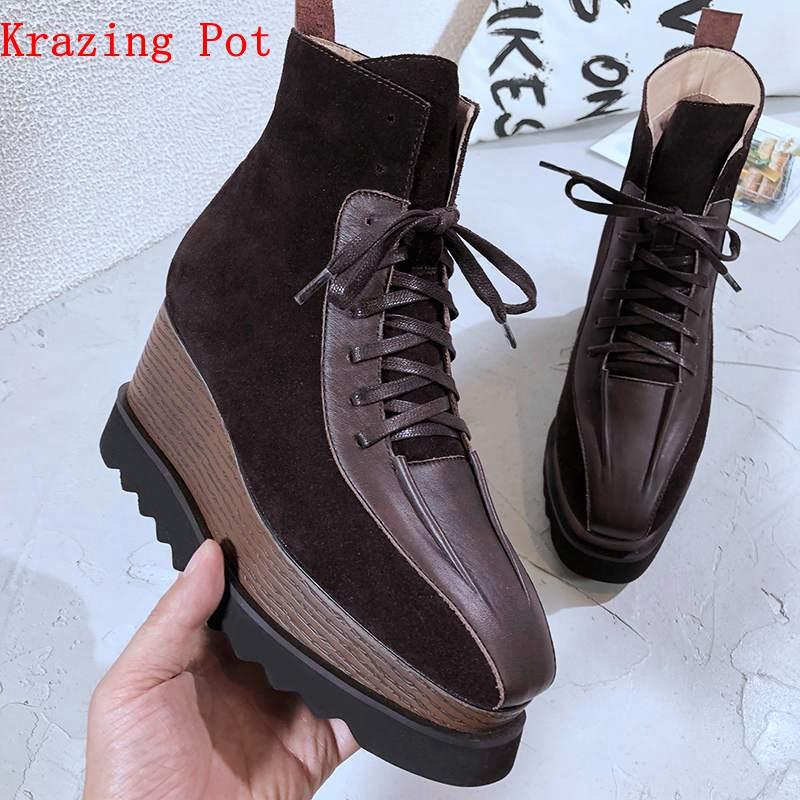 Krazing Pot cow leather natural suede square toe thick bottom lace up preppy style flat platform British style Chelsea boots L69