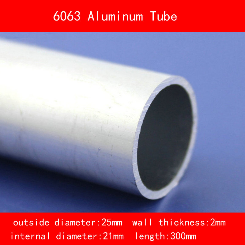 external diameter 25mm internal diameter 21mm wall thickness 2mm Length 300mm 6063 Aluminium Tube AL Pipe DIY Material external diameter 25mm internal diameter 21mm wall thickness 2mm Length 300mm 6063 Aluminium Tube AL Pipe DIY Material