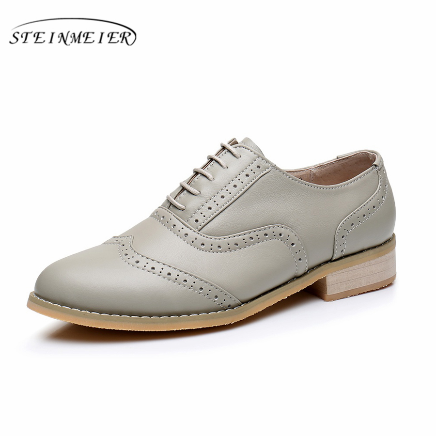 women flat leather oxford shoes woman handmade flat grey 2019 sping vintage British style oxfords shoes
