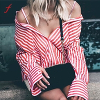 Women Tops And Blouse Long Sleeve Vintage Turn Down Collar Stripe Sexy Ladies Cold Shoulder Shirt
