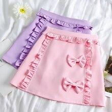 Новинка, Женская мини-юбка трапециевидной формы с бантом, японская Студенческая юбка с милыми оборками Kawaii, мягкие летние короткие юбки розового и фиолетового цвета