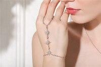 Monaco 925 Sterling silver Bracelet Bangle Connected Finger Ring AAA Zircon Stars Women Bracelet Thin Link Chain Jewelry