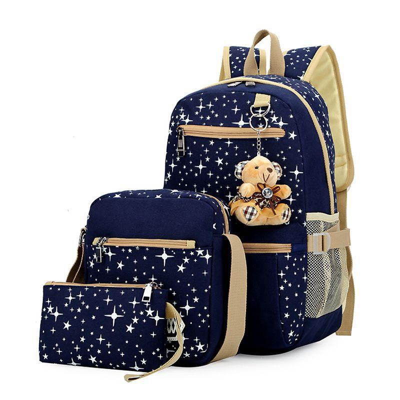 THINKTHENDO 2017 Fashion Women Canvas School Bag Girl Cute Backpack Travel Rucksack Shoulder Bag