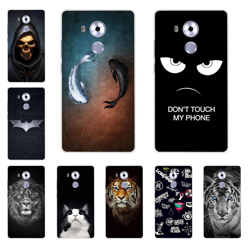 Huawei mate 8 case,Silicon Gossip fish Painting Soft TPU Back Cover for Huawei mate 8 protect Phone shell