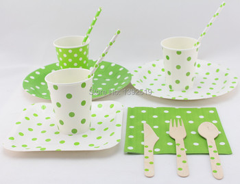 Free Shipping Green Polka Design Christmas Party Decoration Birthday Party Paper Tableware for Most 24 People Using