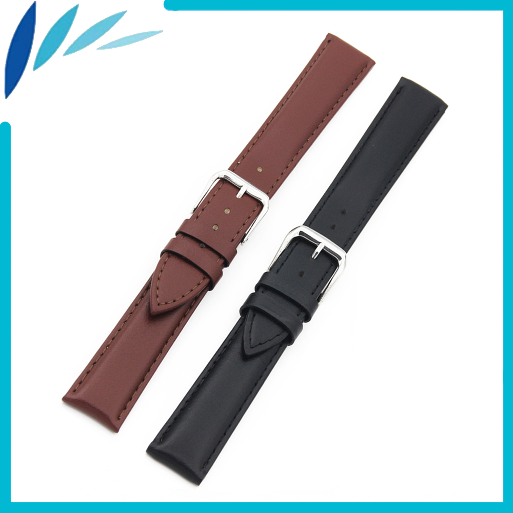 Genuine Leather Watch Band 24mm for Suunto Core Stainless Steel Pin Clasp Strap Wrist Loop Belt Bracelet Black Brown + Tool