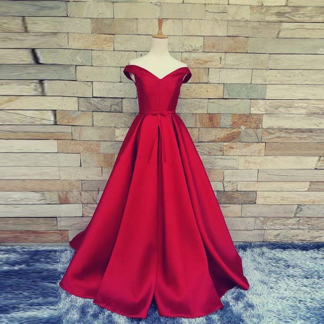 2017 Simple Dark Red Prom Dresses V Neck Off The Shoulder Custom Made Lace  Up Back Evening Gowns Formal Party Dresses CGT430 5e7110dc8