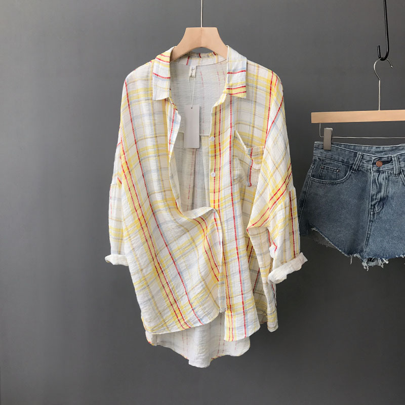 Summer Korean Women Long Blouse Checked Turn-down Collar Full Sleeve Loose Sunscreen Cloth Cardigan Female Boyfriend Shirt