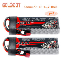 2units GOLDBAT Lipo 6200mAh RC Battery Lipo Battery 7.4V 80C Lipo 2s 7.4v With Deans Plug For RC Car Truck Helicopter FPV RACING
