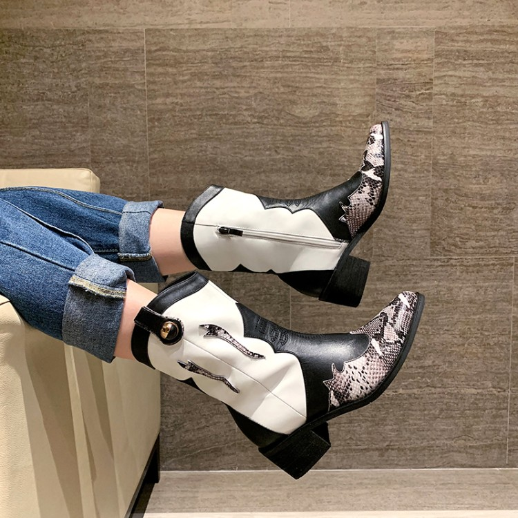 2019 New Brand women boots pointed toe thick heel shoes autumn winter shoes women Genuine Leather Western cowboy ankle boots