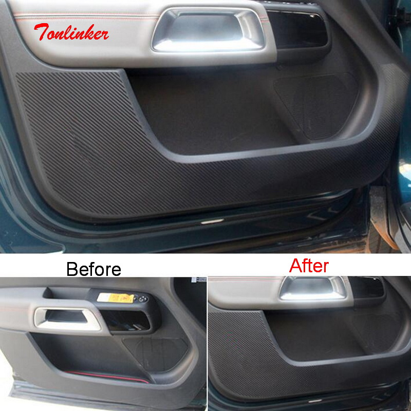 Tonlinker Interior Car Door Anti-dirty Pad Cover Sticker For Citroen C5 Aircross 2017-19 Car Styling 4 PCS Carbon Cover Sticker