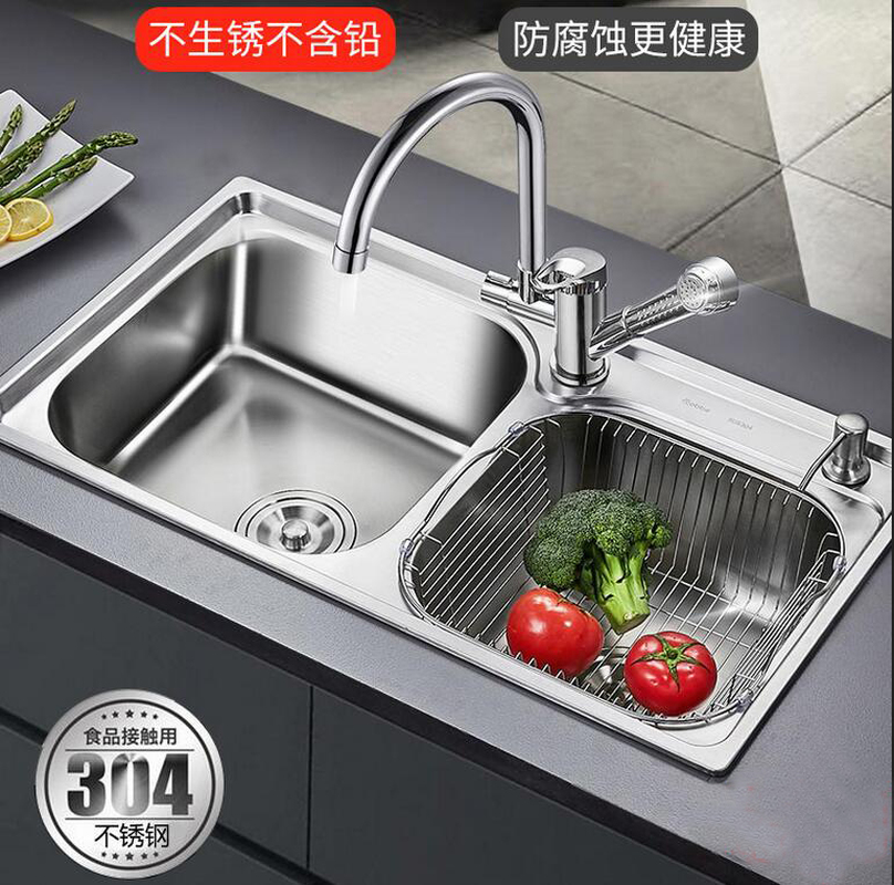 Kitchen Sink Dual-slot Package 304 Stainless Steel Manual Basin Sink Amoy Pool Thicker Sink LU4258
