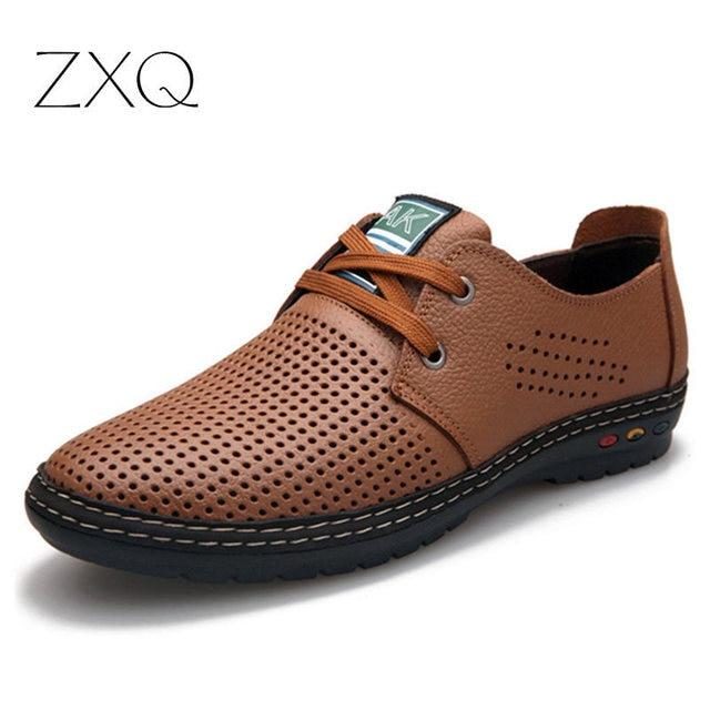 Nueva Moda de Cuero Partido de Los Hombres de Verano Zapatos de Vestir Planos Respirables Originales Hombres de la Marca Oxford Zapatos