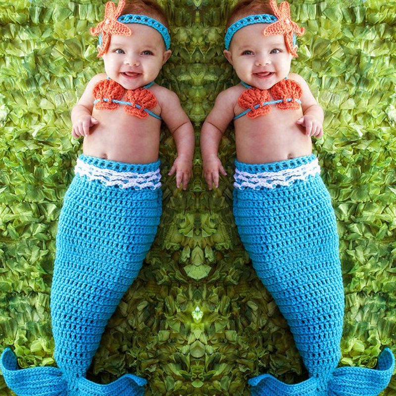 Newborn Baby Girl Clothes Set Cute Blue Mermaid Knit Costume Photography Prop Crochet Handbands Girls Children Clothing Sets newborn baby girls boys crochet knit costume photo photography prop outfits newborn fotografia clothes and accessories