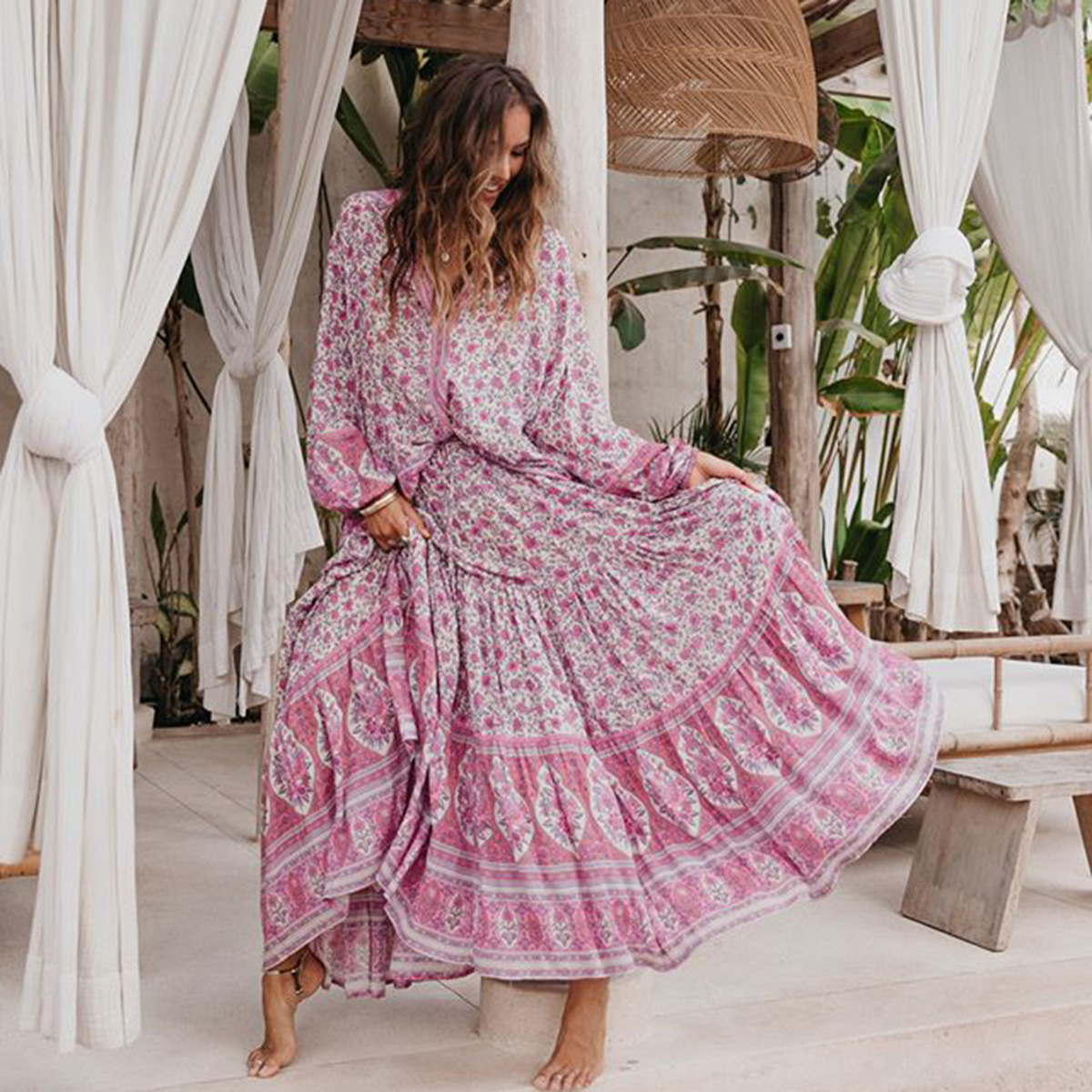 Jasmine Print Floral Bohemian Top Skirt Sets Women High Waist Skirts Loose Blouses Suit Set Ladies Gypsy Hippie Sexy 2 Piece Set