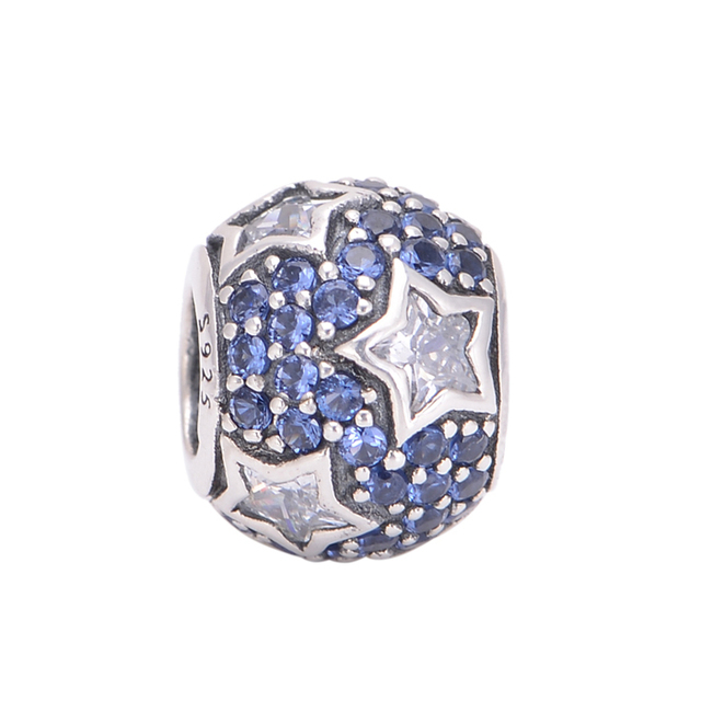 6bcde5e33 Fits Pandora Charms Bracelet Wholesale Fashion Jewelry Midnight Blue Pave  Stars Charm LW407