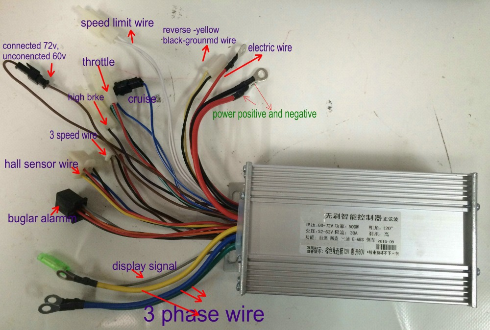 V V W Sinewave Controller Bldc Motor Controller Mosfet For Electric Scooter Ebike Mtb Tricycle on 6 wire 3 phase motor wiring