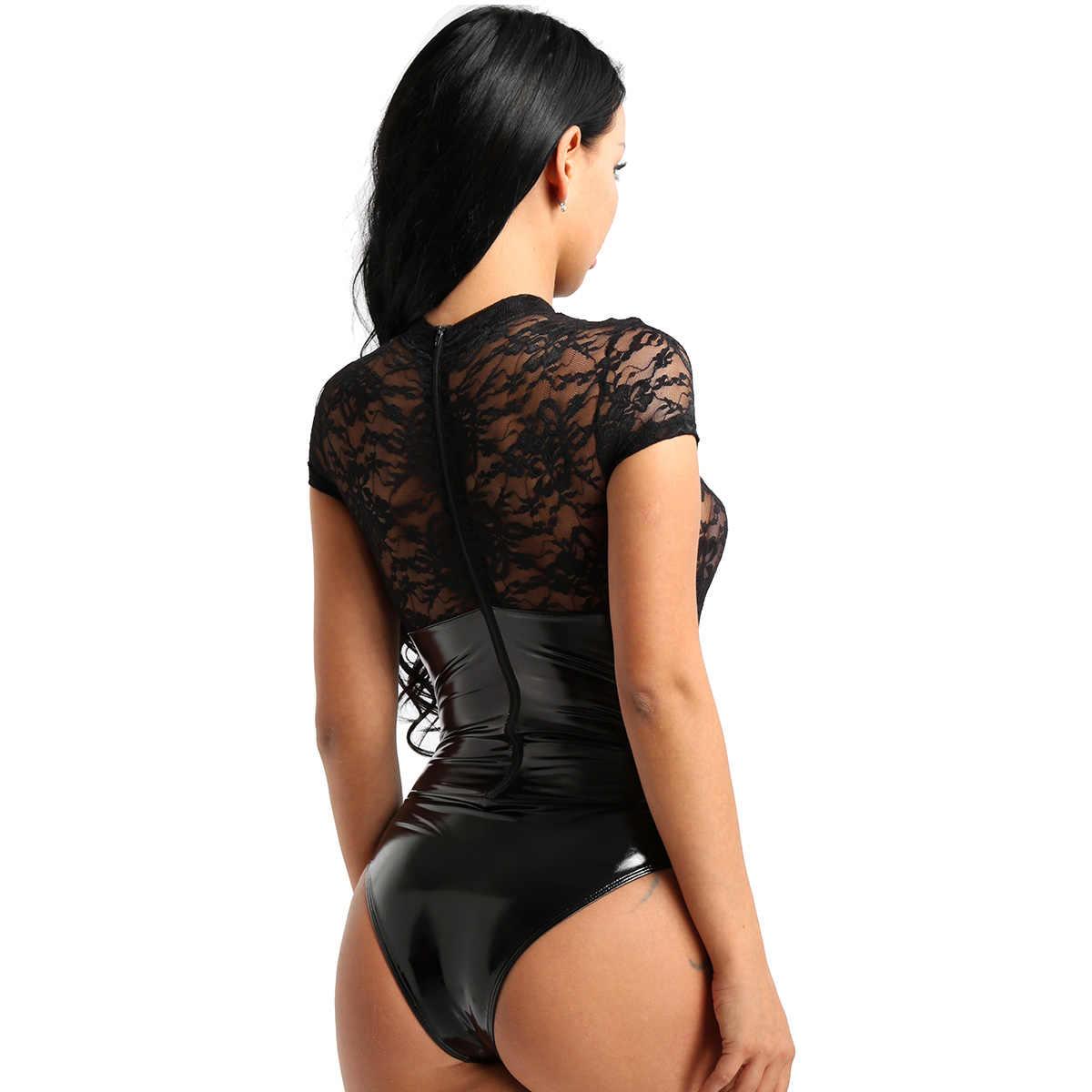 1190e46b9 ... Womens Female Wetlook Clubwear Faux Leather Lingerie Top Lace Splice  High Cut Back Zipper Teddy Bodysuit ...