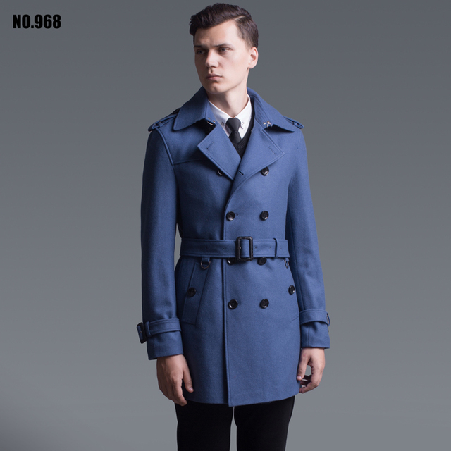 Outerwear 2016 primavera e no outono moda double breasted casaco de lã para os homens Inglaterra elegante azul presentes de lã trincheira do revestimento do revestimento