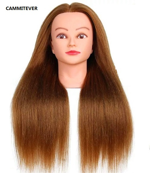 CAMMITEVER Gold 50CM Length Training Head High Temperature Fiber Hair Hairdressing Female Mannequin Training Head