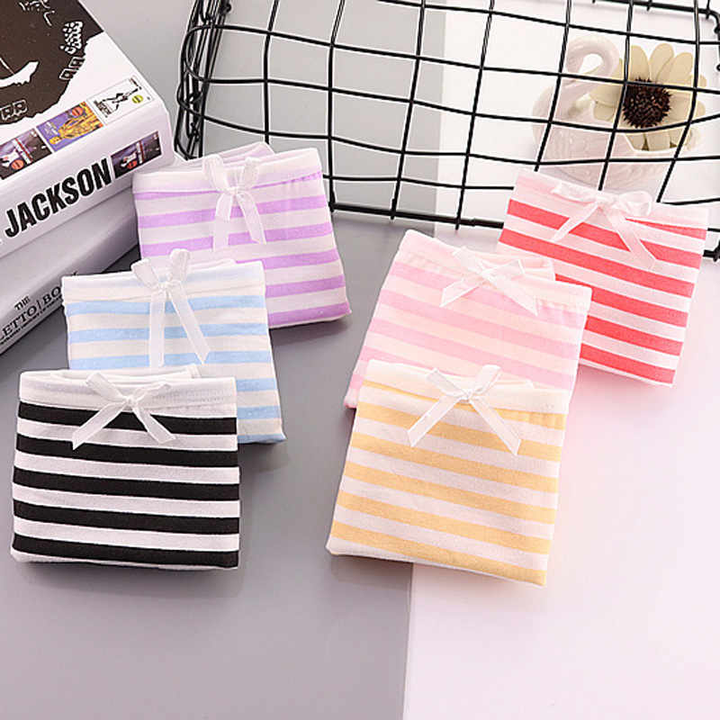 Buy jamular 3pcs Women's Candy Color Stripes Briefs Ladies Bow Lolita Panties Triangle Underpants Knickers Girl's Lingerie