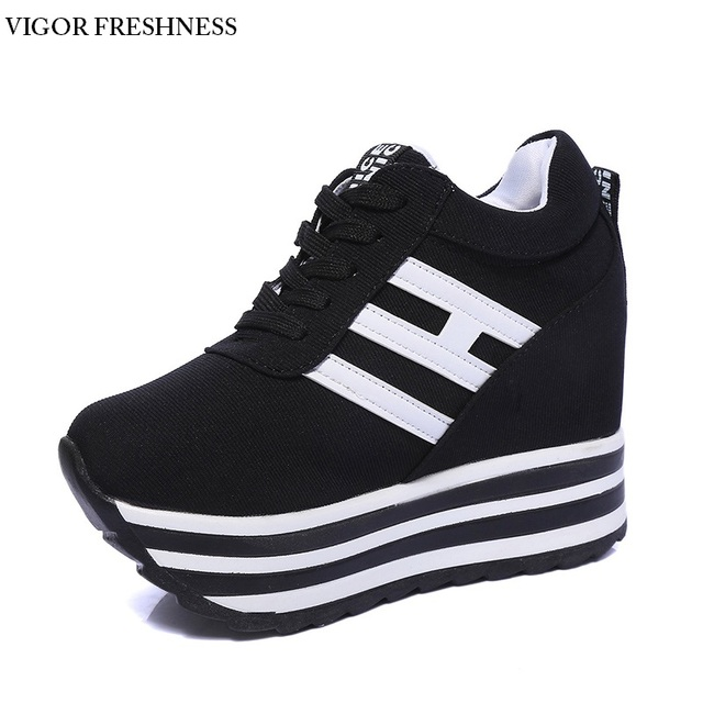 7904eb81f VIGOR FRESHNESS Platform Shoes Women Sneakers Elevator Shoes Wedges High  Heels Canvas Height Increasing Female Shoes Lady W268