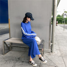 Women s Clothing Autumn New Korea Casual Chin Side Striped O-neck long  Sleeve loose hipster Straight harajuku BF ulzzang Dresses ac945d97ac9a