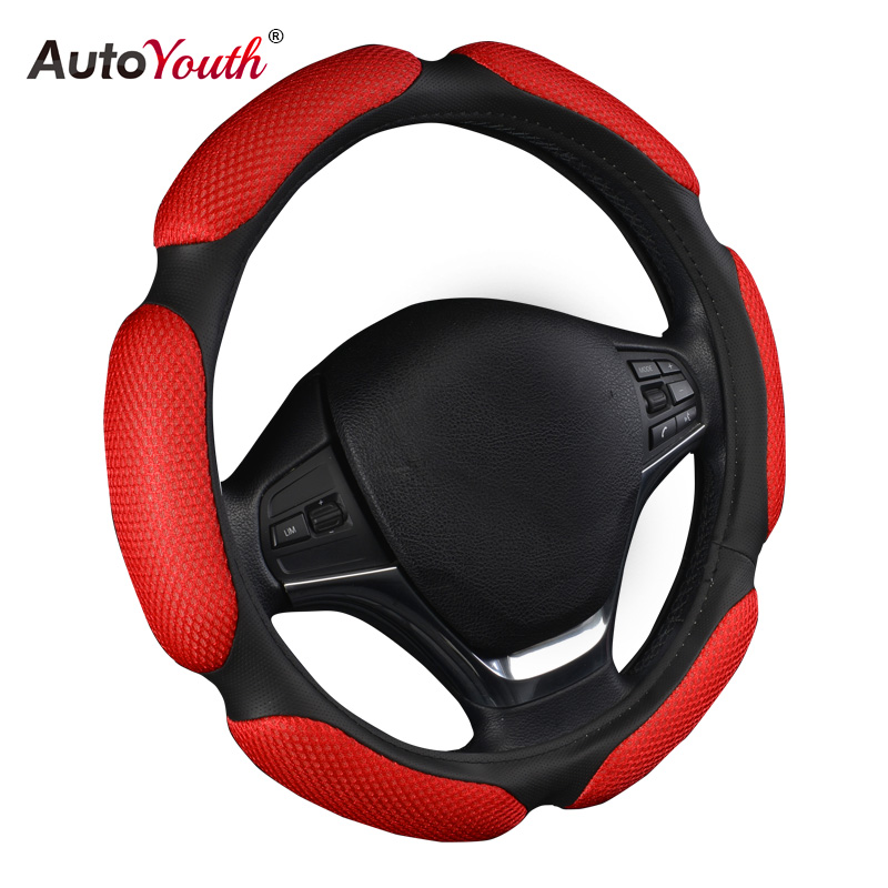 AUTOYOUTH Car Steering Wheel Cover Breathability Skidproof Universal Fits Most Car Styling Steering Wheel Red Steering