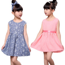 Whloesale Summer Girl Dress Sleeveless Princess Dress For Girl Elegent Cotton party Girl Dress Children Clothes +Free headwear(China)