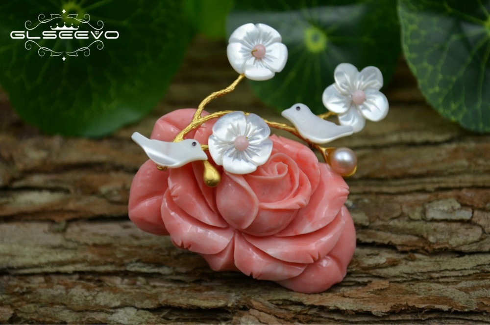 81adcdf87 GLSEEVO Natural Mother Of Pearl Coral Flower Brooch Birds Brooches For Women  Jewelry Fashion Dual Use. sku: 32891038297