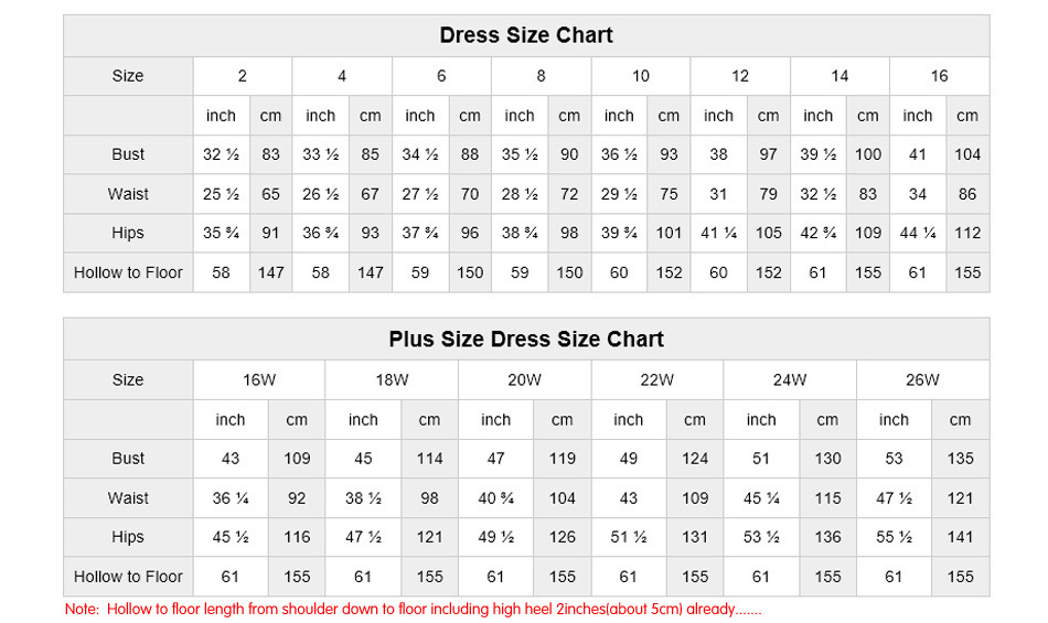 Size Charts For Prom Dresses Ottodeemperor
