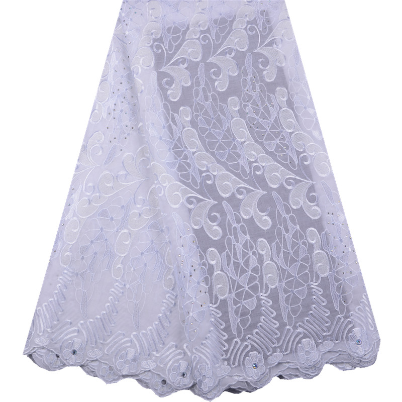 2019 Latest Swiss Voile Lace In Switzerland High Quality Pure White African Cotton Lace Fabric For