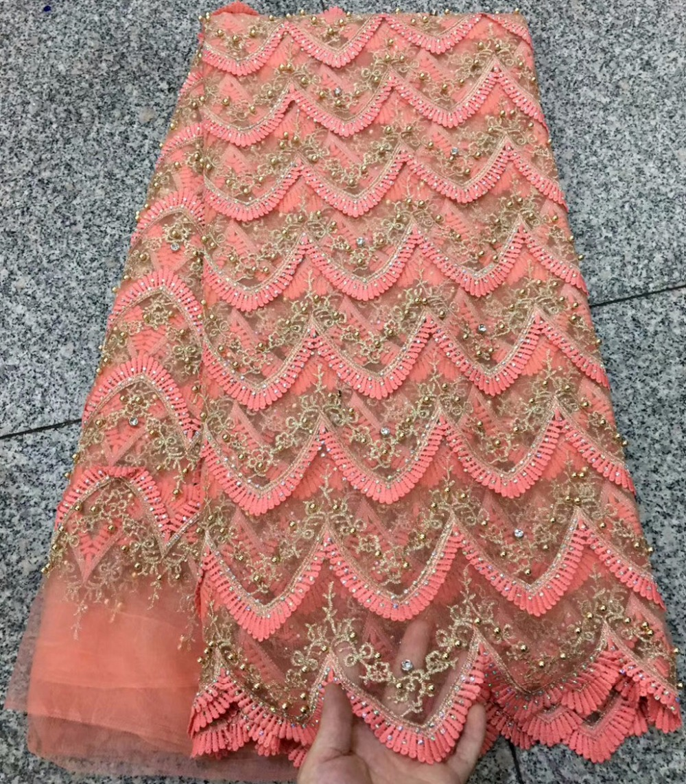 Peach And Light peach French Tulle Lace Fabric Embroider With Stones 5 Yards African Net Lace