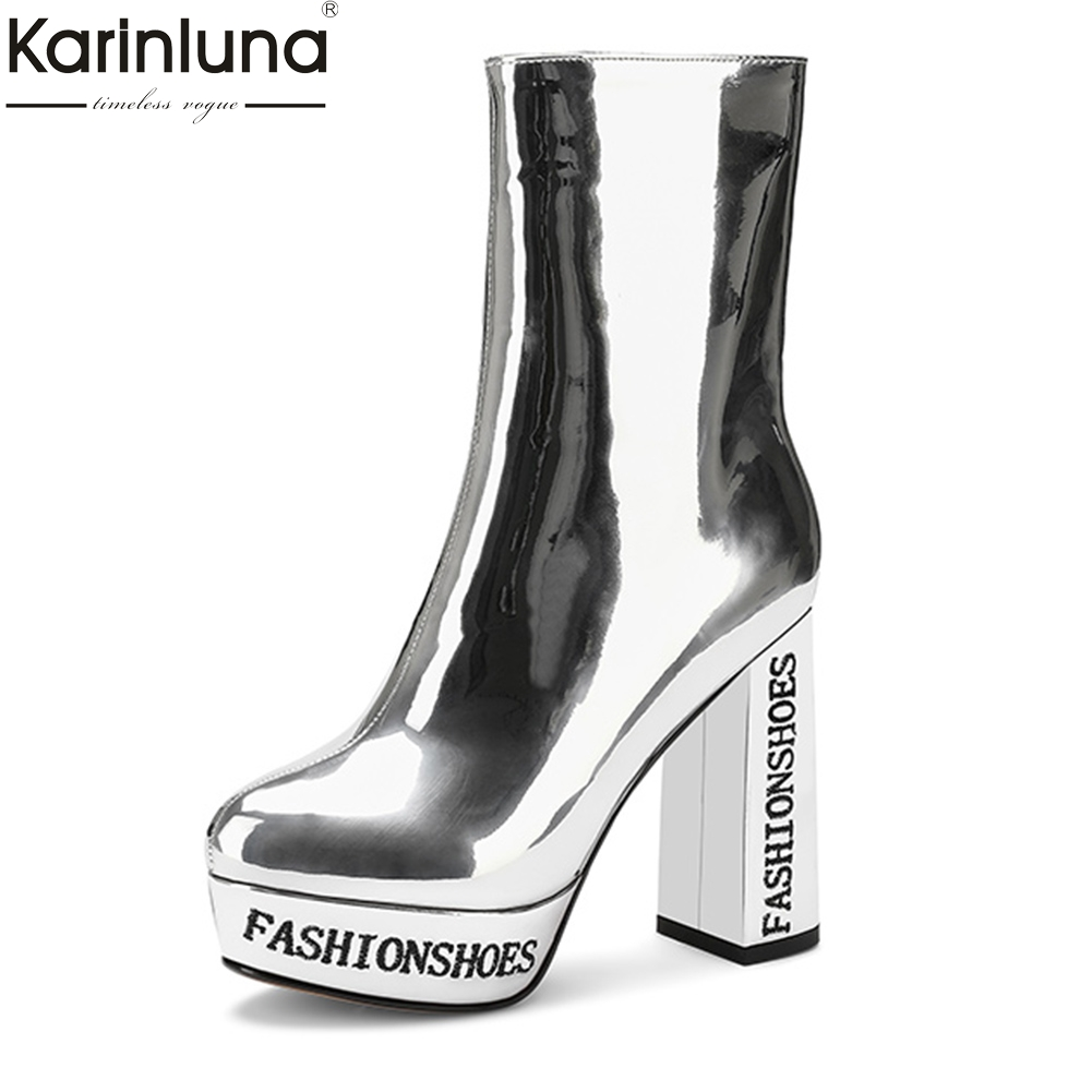 Fashion Patent Leather Boots Woman High Heels Platform Genuine Leather Sexy Boots Woman Shoes Women Plus