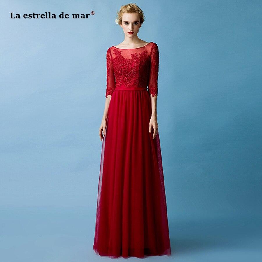 La estrella de mar robe demoiselle d'honneur pour femme Hot Scoop neck lace Half sleeve A Line Burgundy   bridesmaid     dresses   long