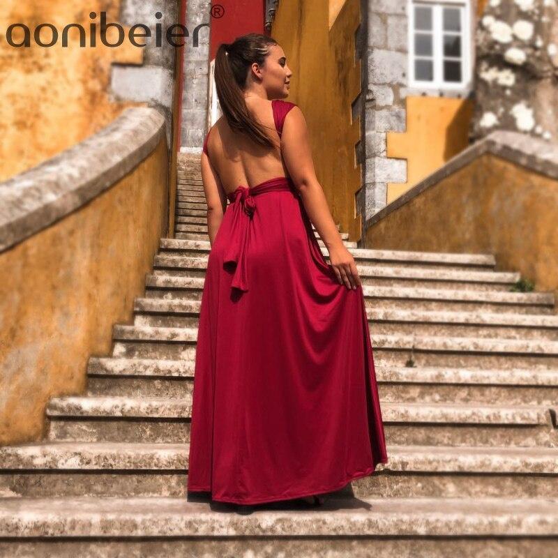 Aonibeier 20 Colors Infinity Convertible Wrap Dress Fashion Bandage Long Dress Party Multiway Bridesmaids Women Maxi Dresses