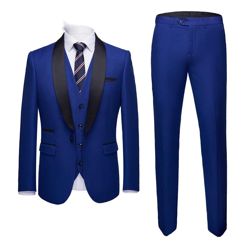 Slim Costume Parti Fit Foncé Bleu Formelle Pour Masculin Classique Luxe De Costumes D'affaires as Gilet As Mariage veste Pantalon Picture Picture Blazers Hommes wgpCzq