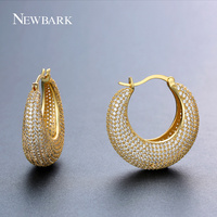 NEWBARK Top Quality New Big Round Hoop Earrings Paved Small Cubic Zirconia Crystal Stone Luxury Cold