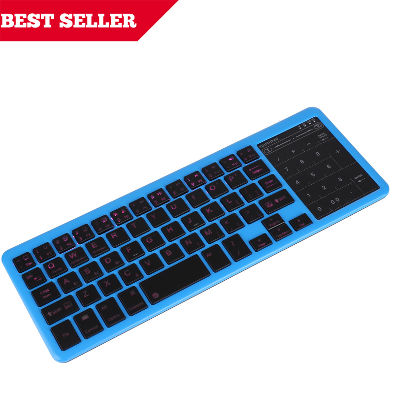 2.4G Wireless Keyboard Touchpad Backlight English Russian Arabic Hebrew Bluetooth for Mini PC OS Windows Android TV Box Laptop brand new mini wireless english bluetooth keyboard mouse touchpad for windows android pc