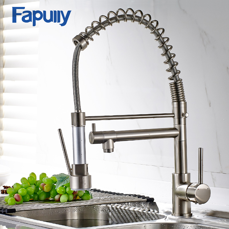Fapully Pull Down Kitchen Faucet Double Sprayer Rotate Swivel Chrome Vessel Sink Basin Faucet Water Tap Mixer 191-33C sognare kitchen faucet double sprayer rotate swivel chrome vessel sink basin faucet cold hot water tap mixer torneira cozinha