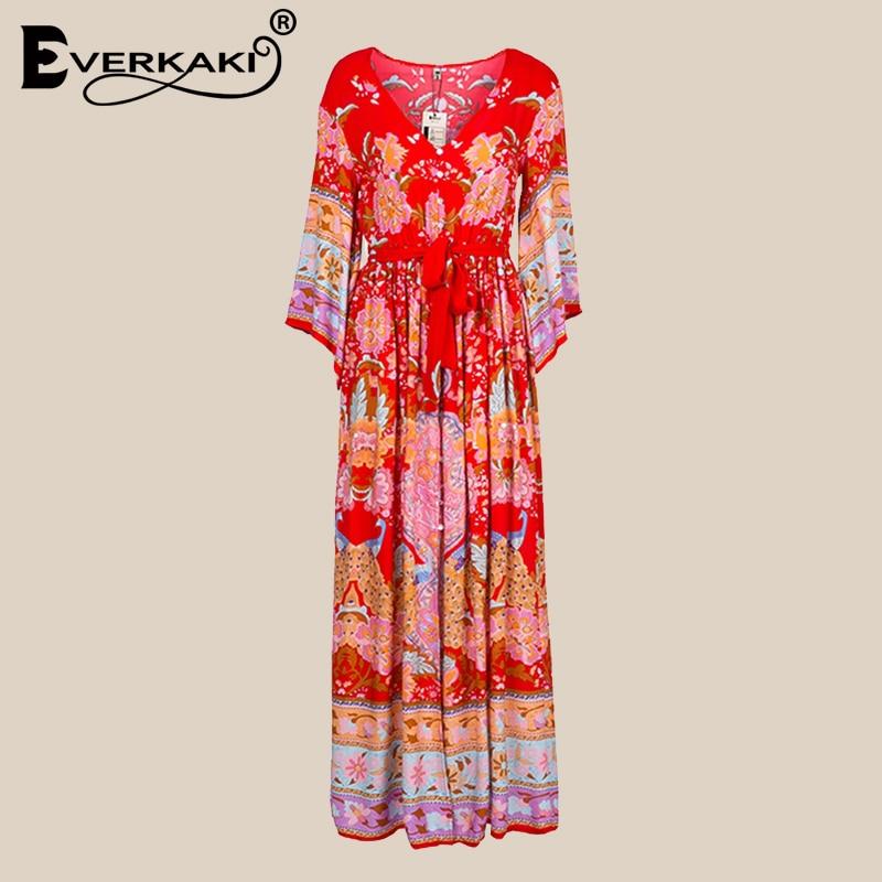Everkaki Gypsy Collective Lotus Kimono Gown Boho Style Long Dress V Neck High Waist Flare Sleeve Print Dresses 2019 New Fashion