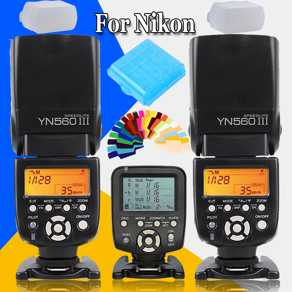 Yongnuo YN560III YN-560 III Wireless Flash Speedlite Speed Light X2 +YN560 TX Flash Trigger Controller for Nikon DSLR Cameras spash sl 685c gn60 wireless master slave flash light ttl speedlite for nikon lcd screen cameras flash adjustable fill light
