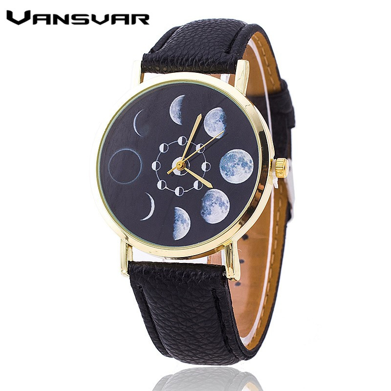 Vansvar Moon Phase Astronomy Space Watch Fashion Women Quartz Watches Casual Leather Wrist Watch Relogio Feminino