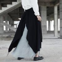 Cakucool New Design Women Cotton Linen Long Skirt Ripped Vintage Patchwork Skirts A Line Asymmetric Black
