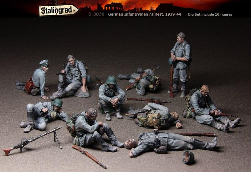Stalingrad S 3030 German Infantrymen At Rest Big Set include 10 figures 1 35 Resin Model
