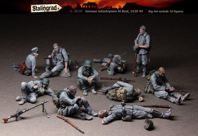 Stalingrado S-3030 Alemão Infantaria Em Repouso (Grande Conjunto incluem figuras 10) 1/35 Kit Modelo de Resina