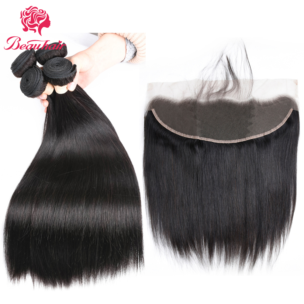 Beau hair Malaysian Straight Hair 13x4 Lace Frontal Closure with 2/3 Bundles Human Hair with Frontal Closure Free Part
