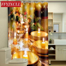 Candlelight Tree Hole Christmas Decoration Gift Polyester Shower Curtain Waterproof Mildew Home Bathroom Curtain