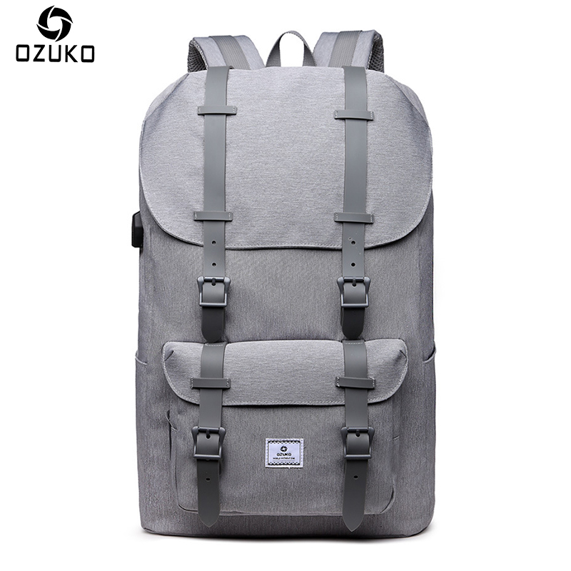 OZUKO Brand External USB Charge Backpack Large Capacity Male Mochila Laptop Backpack Men women School Bags Waterproof Travel Bag lielang men pu leather backpack waterproof large capacity 14 inch laptop bag usb charge camouflage backpack bag mochila rucksack